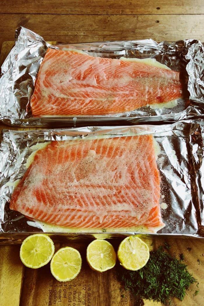 Preparing Grilled Lemon Dill Salmon