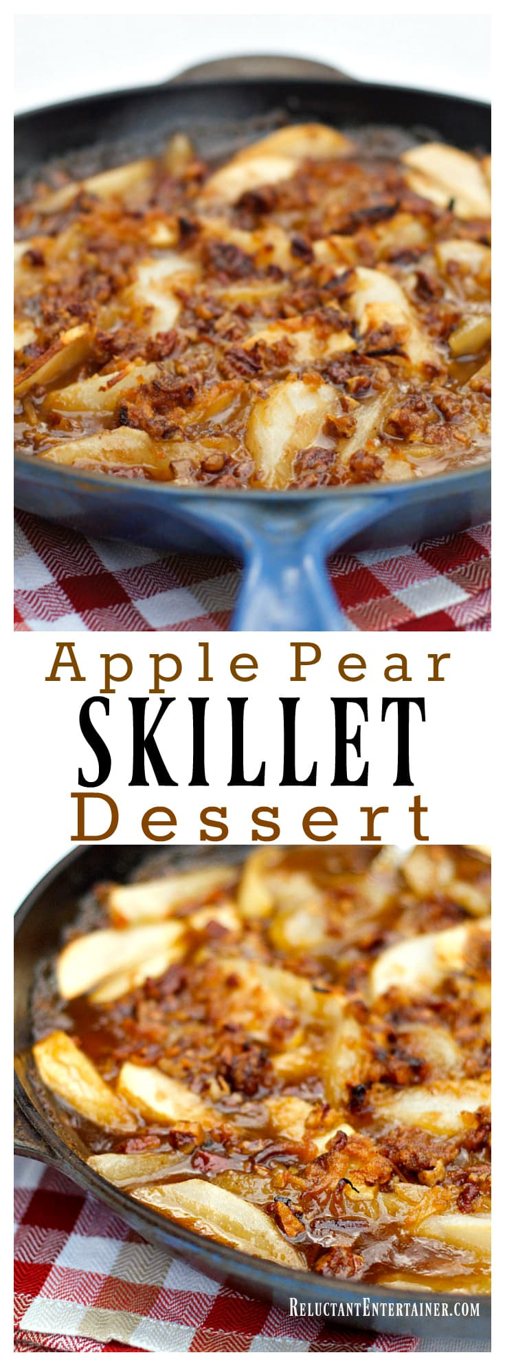 Apple Pear Skillet Dessert with Pecan Coconut Topping at ReluctantEntertainer.com