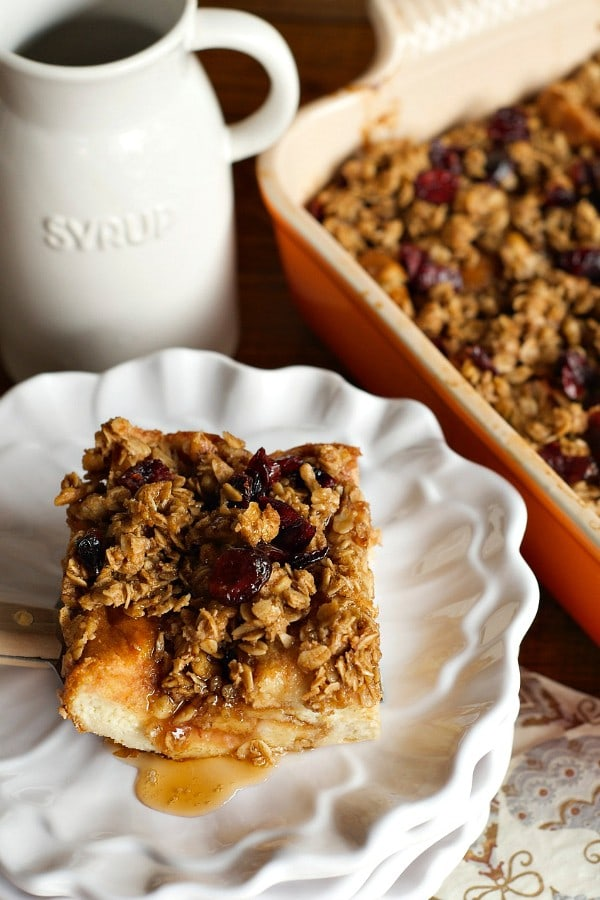 Make Ahead Challah French Toast Casserole with Cranberries