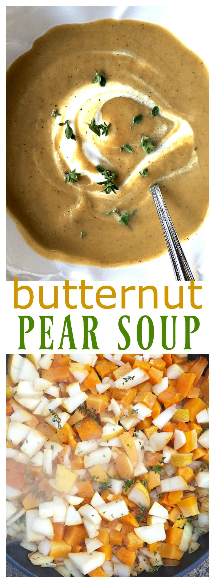 This Butternut Pear Soup recipe is made with pears and butternut squash. The perfect autumn soup to enjoy for a cozy meal!