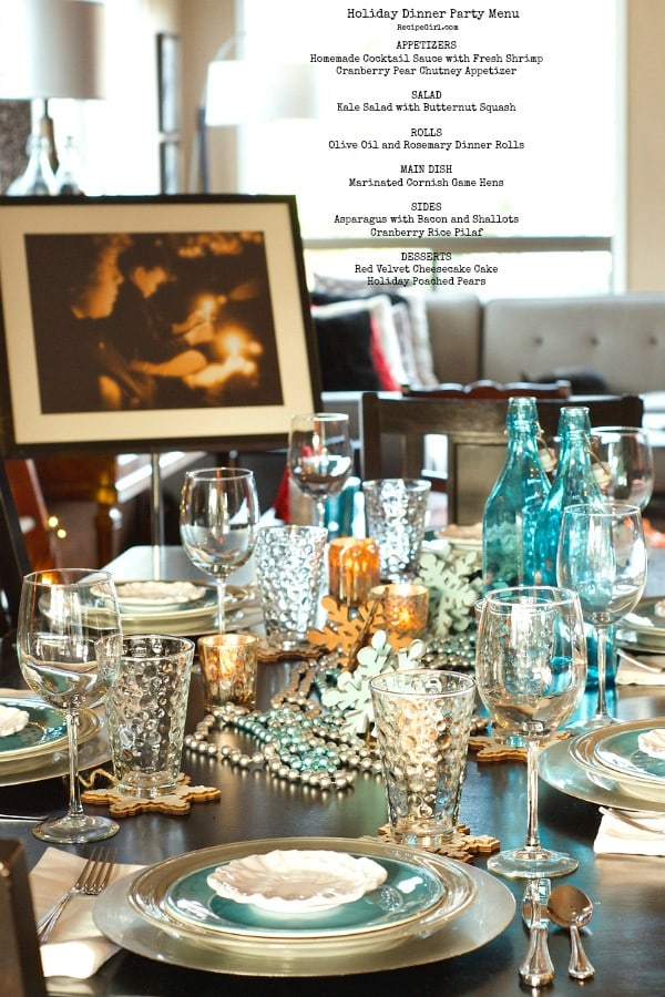 Holiday Dinner Party Menu with Snowflake Table Setting