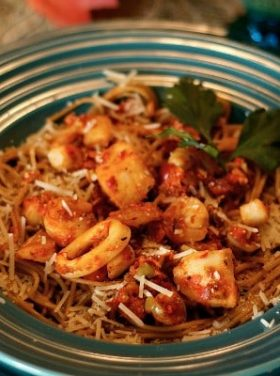 Seafood Medley Red Pepper Tapenade Pasta