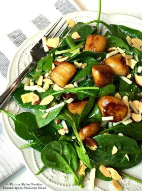 5-Minute White Cheddar Almond Apple Scallops Salad