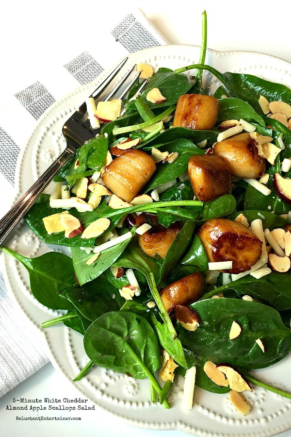 5-Minute White Cheddar Almond Apple Scallops Salad