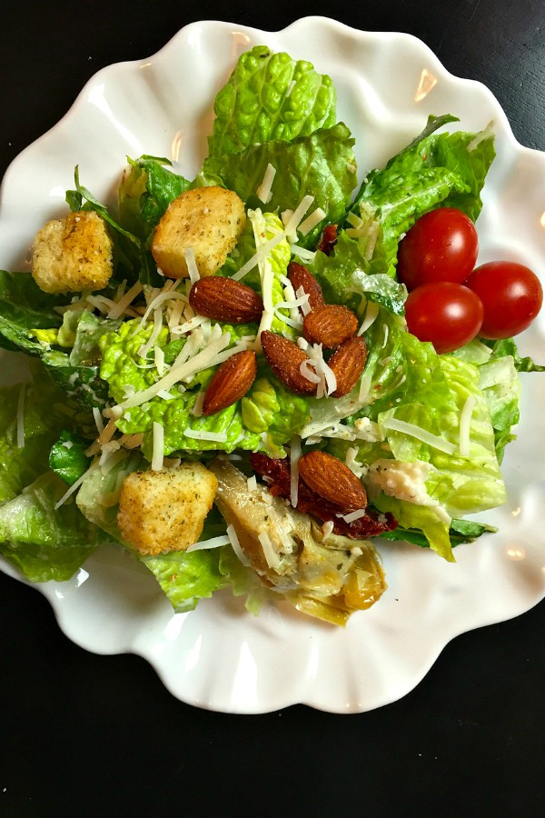 Caesar Salad Bar with Homemade Dressing and Blue Diamond Almonds