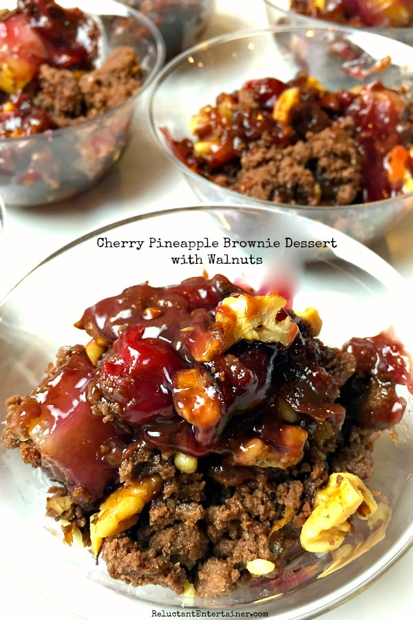 Cherry Pineapple Brownie Dessert with Walnuts