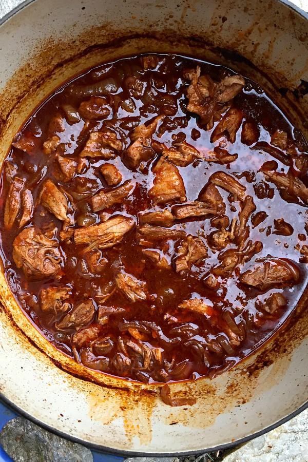 Pork with Black Bean Cornbread Topping