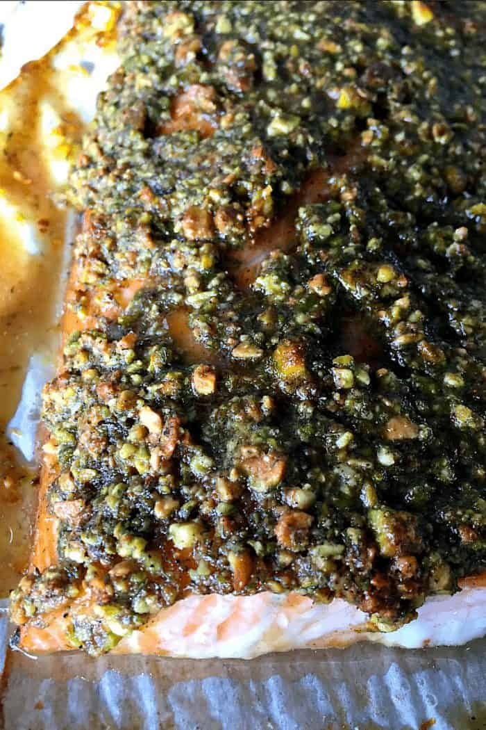 Baked Pistachio CRUSTED Lemon Salmon