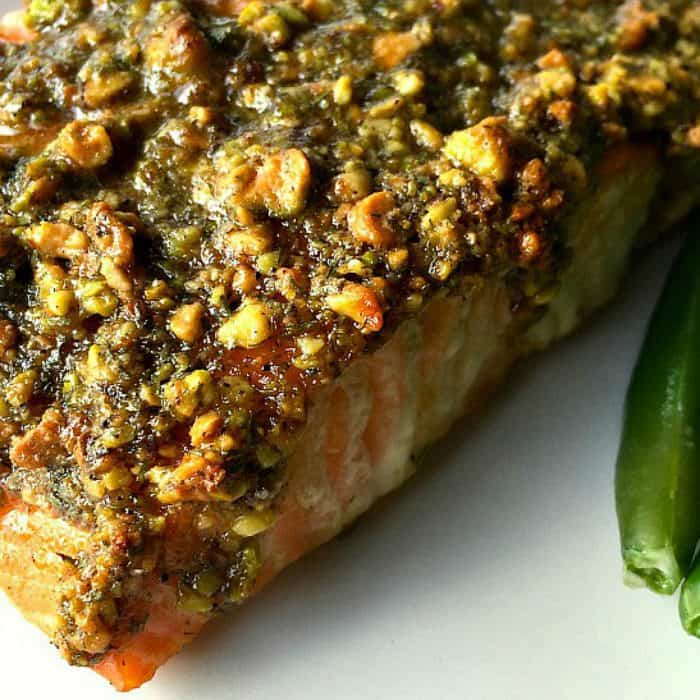 The BEST Baked Pistachio Lemon Salmon