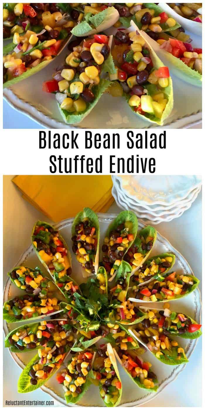 Black Bean Salad Stuffed Endive Appetizer Recipe