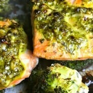 One-Sheet Cilantro-Parmesan Broccoli Baked Salmon