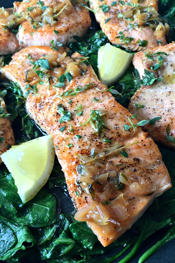 Pan-Roasted Salmon with Thyme Butter Sauce.