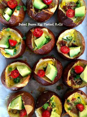 Baked Bacon Egg Pretzel Rolls