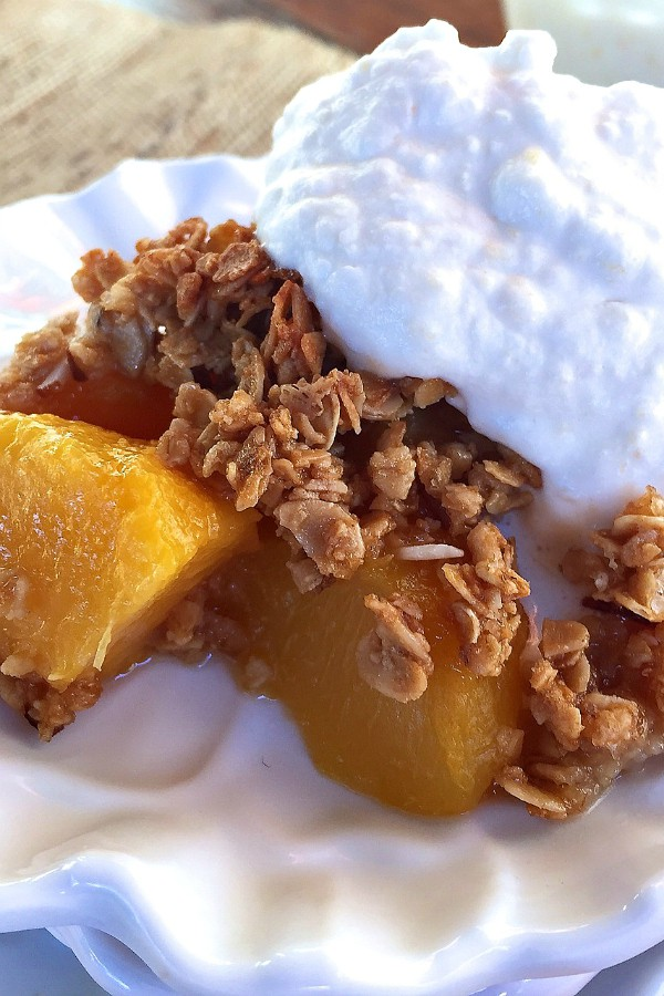 Peach Granola Crisp with Peach Cream