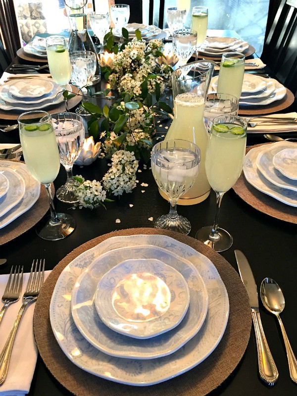 Set a Springy Blossom Table with Cucumber Lemonade Drink
