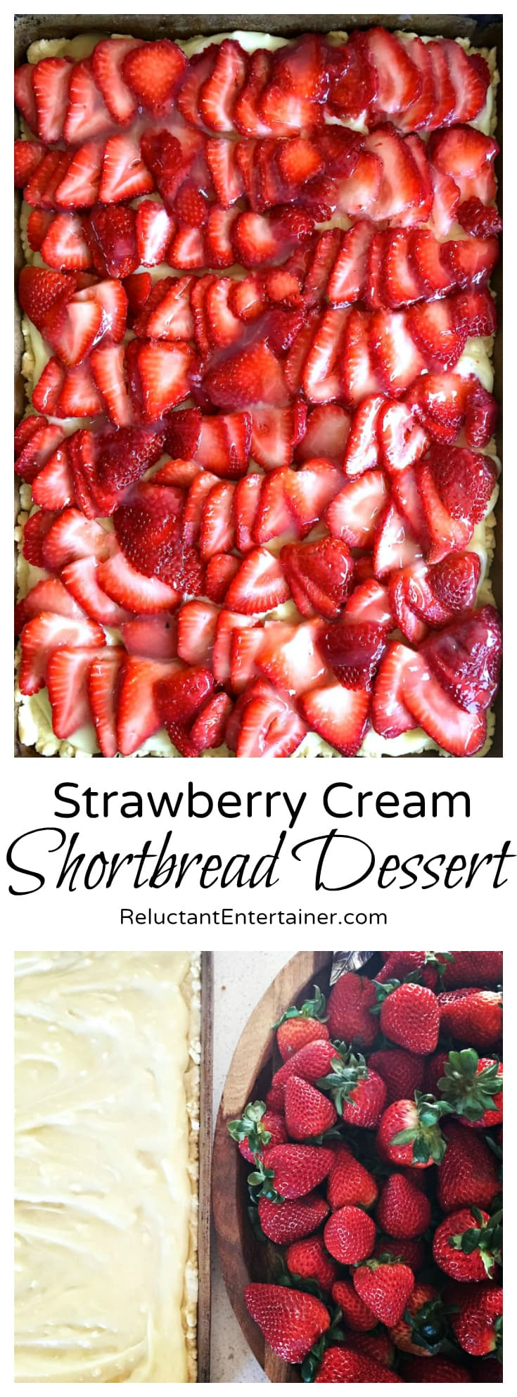 Strawberry Cream Shortbread Dessert - can feed up to 20 guests!