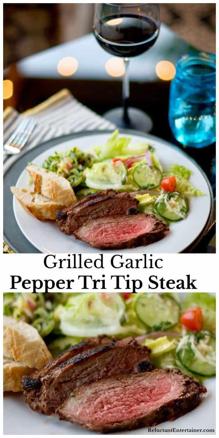 Grilled Garlic Pepper Tri Tip Steak Recipe