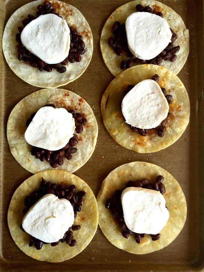 Vegetarian Crunchy Black Bean Mozzarella Tacos