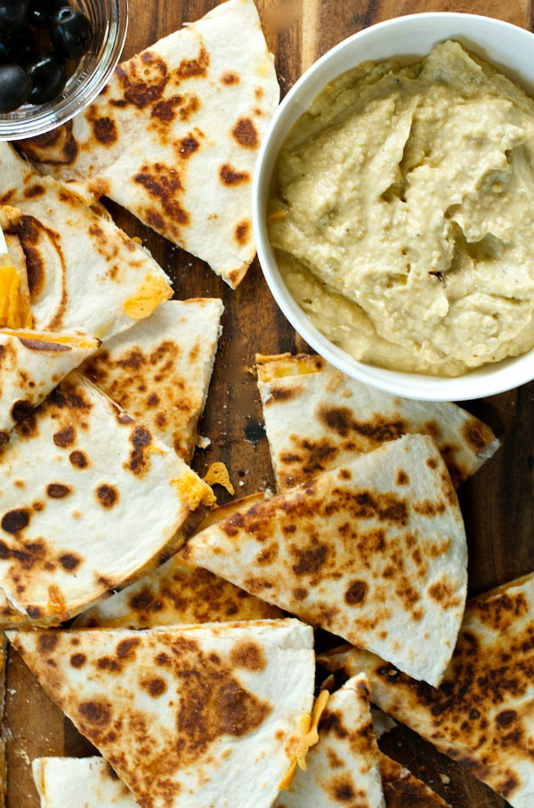 This Spicy Avocado Hummus with Cheesy Quesadillas recipe is loved by ...