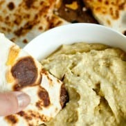 Spicy Avocado Hummus with Cheesy Quesadillas