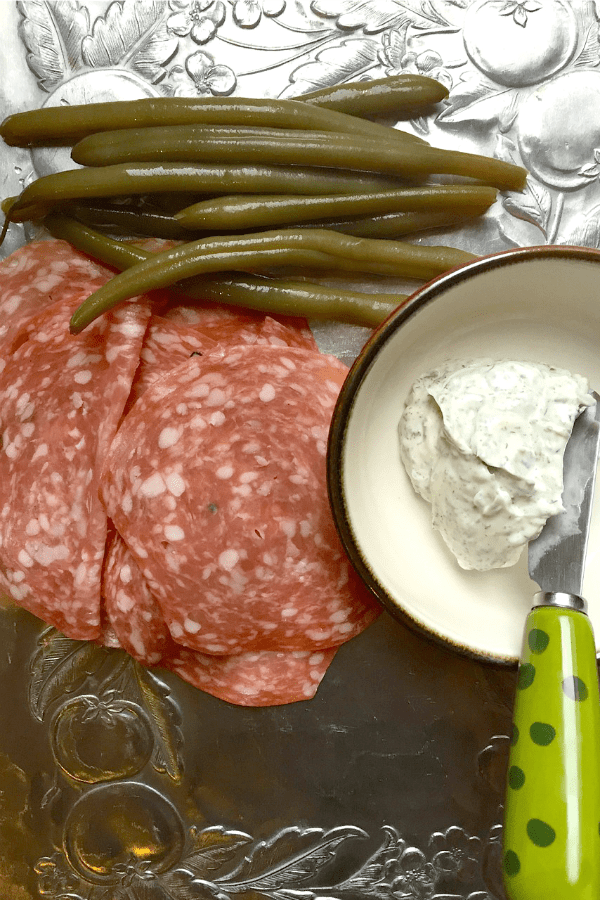 Pickled Green Bean Salami Rolls