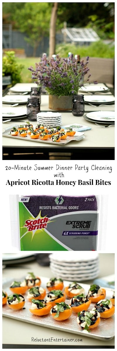 20-Minute Summer Dinner Party Cleaning with Apricot Ricotta Honey Basil Bites | ReluctantEntertainer.com