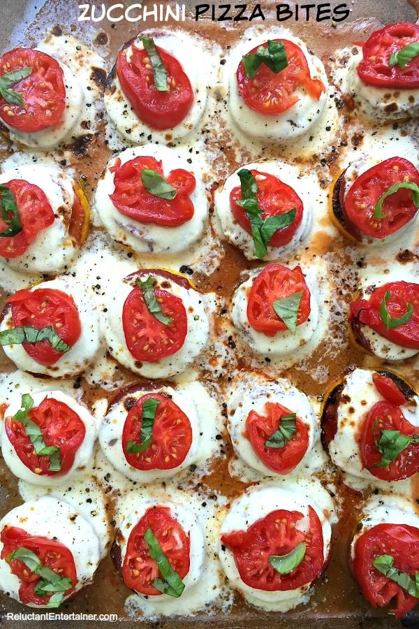 Zucchini Pizza Bites | Reluctant Entertainer.com
