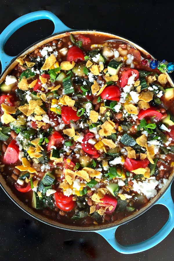 Vegetarian Zucchini Corn Chili | ReluctantEntertainer.com