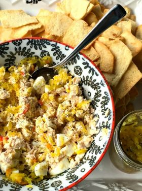 Zucchini Relish Tuna Salad Dip | ReluctantEntertainer.com