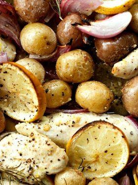 Lemon-Rosemary Roasted Chicken Tenders with Potatoes
