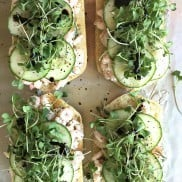 Shrimp Cucumber Salad Toasts | ReluctantEntertainer.com