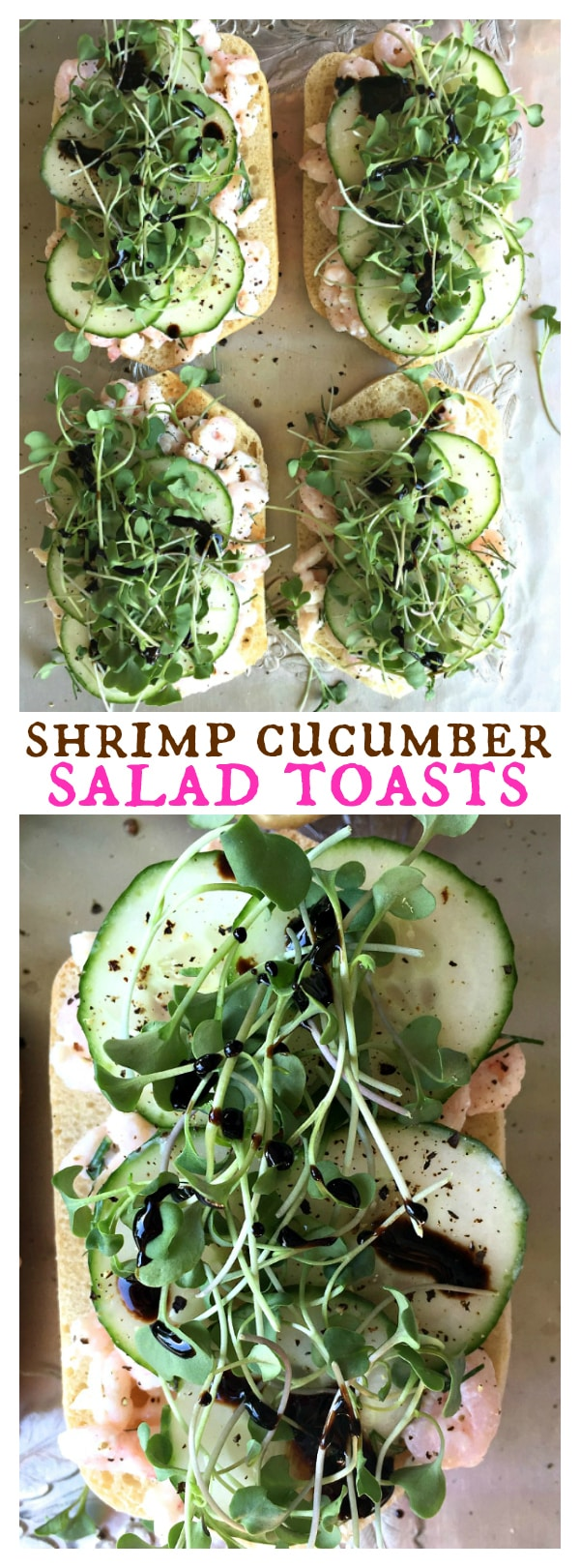 Shrimp Cucumber Salad Toasts
