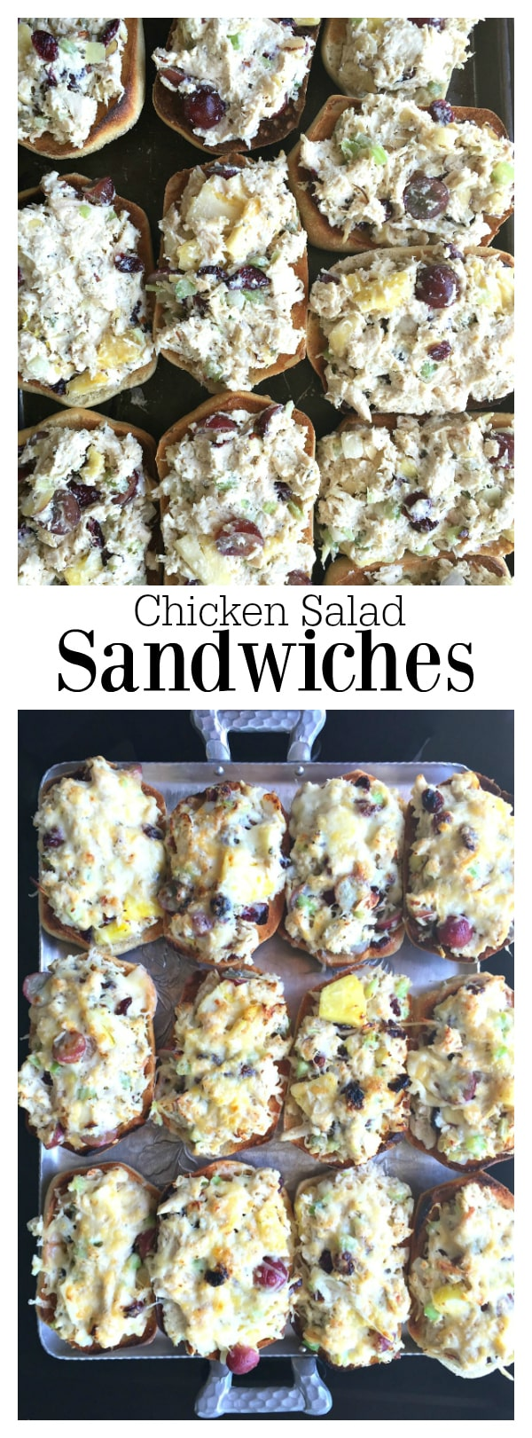 Chicken Salad Sandwiches with grapes and pineapple