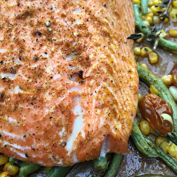 Roasted Salmon & Succotash | ReluctantEntertainer.com