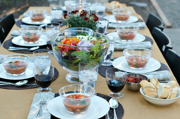 Fall Dinner Party Minestrone Soup Recipe - table