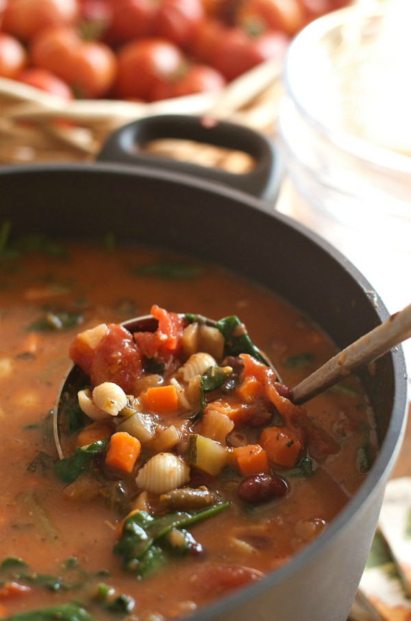 Fall Dinner Party Minestrone Soup Recipe | pot of soup