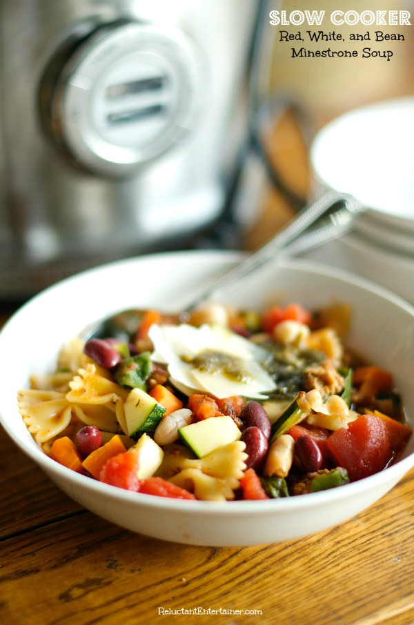Slow Cooker Red, White, and Bean Minestrone Soup | ReluctantEntertainer.com