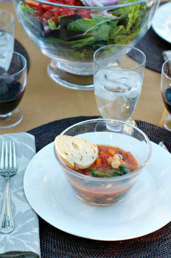 Fall Dinner Party Minestrone Soup Recipe with bread