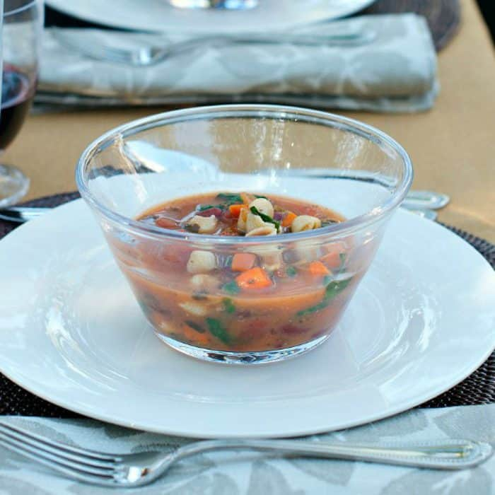 Fall Dinner Party Minestrone Soup Recipe - bowl of soup