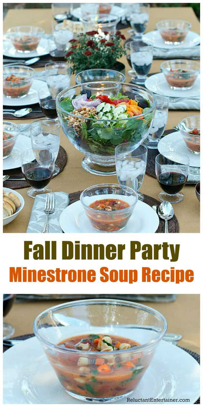 Fall Dinner Party Minestrone Soup - tablescape