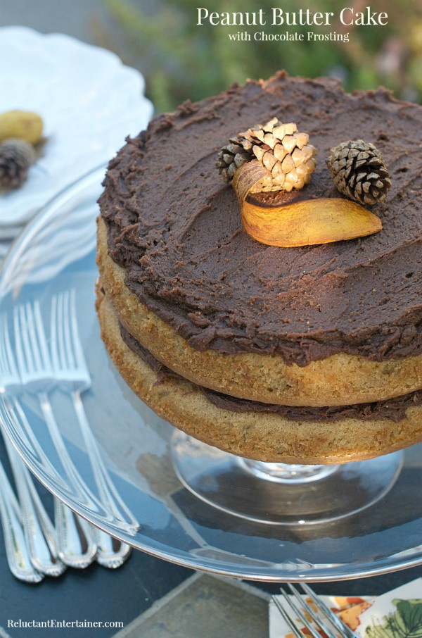 Peanut Butter Cake with Chocolate Frosting   ReluctantEntertainer.com