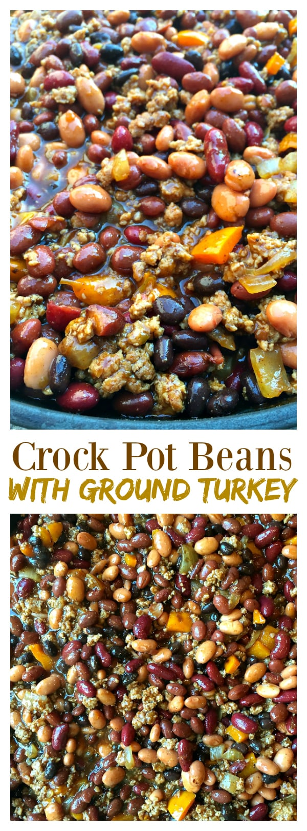 Crock Pot Beans with Ground Turkey for Game Day or a potluck!