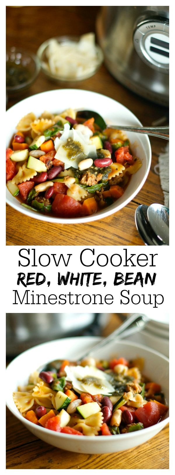 Slow Cooker Red, White, and Bean Minestrone Soup
