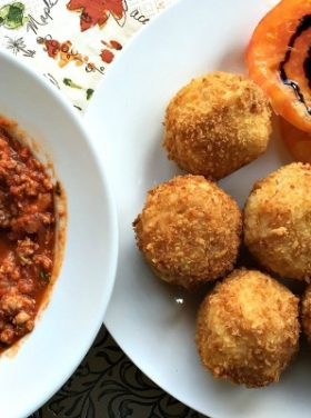 Arancini with Meat Ragù Recipe | ReluctantEntertainer.com