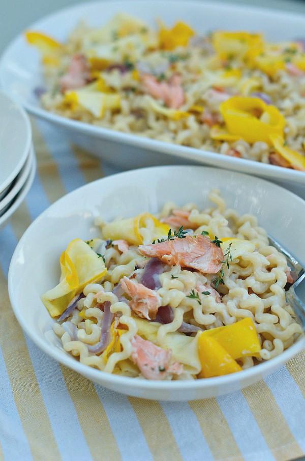 Squash Ribbon Pasta with Salmon Herb Cream Sauce | ReluctantEntertainer.com