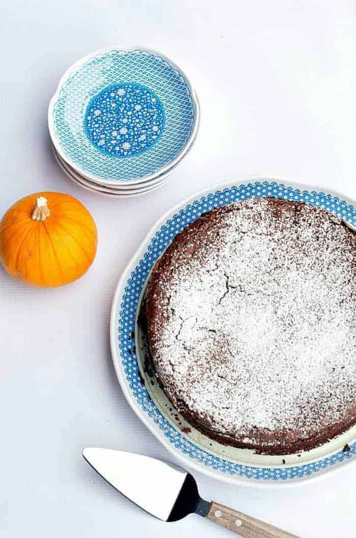 Best Pumpkin Spice Flourless Chocolate Cake