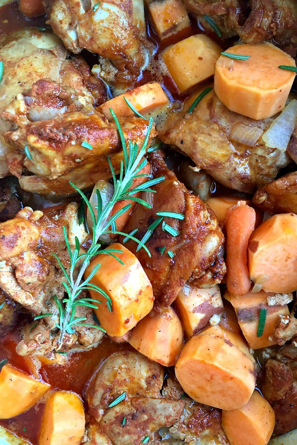 Easy Dinner Tonight: Paprika Sweet Potato Chicken Thighs