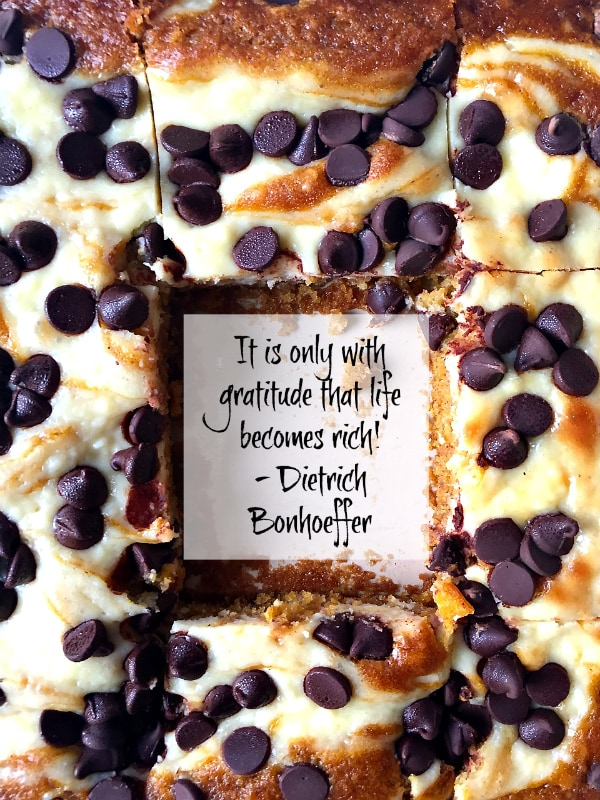 Pumpkin Chocolate Cream Cheese Cake: It is only with gratitude that life becomes rich - Dietrich Bonhoeffer