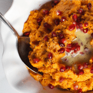 This Easy Mashed Sweet Potatoes recipe is delicious served with a dab of butter, and festive pomegranate seeds sprinkled on top!