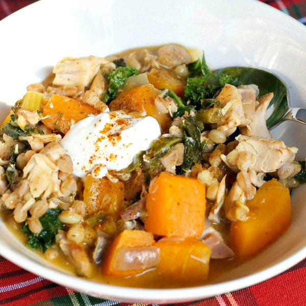 Chicken Soup With Farro, Kale, And Turmeric Recipe — Dishmaps